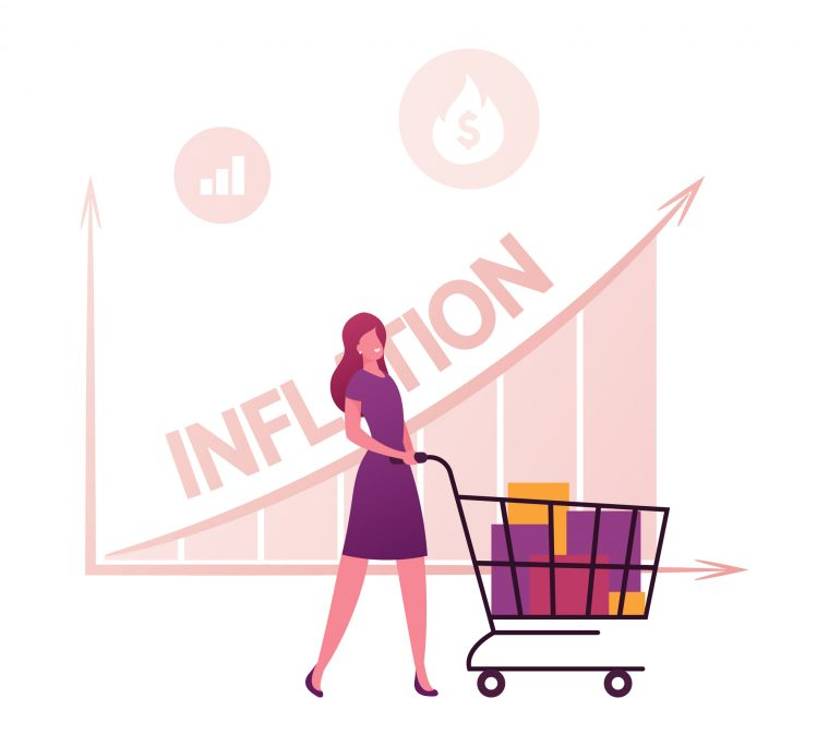Inflation, Recession and Depreciation Concept. Female Customer Character with Shopping Trolley Looking at Rising Price Arrow Chart. Financial Crisis, Corporate Sale Drop. Cartoon Vector Illustration